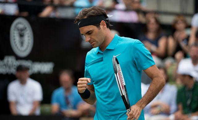 Roger Federer lors de la finale face à Milos Raonic. [Marijan Murat - Keystone]