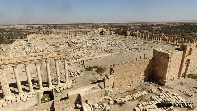 Le site de Palmyre photographié par un drone de l'Iconem en avril 2016. [Martak/Iconem/DGAM - AFP]