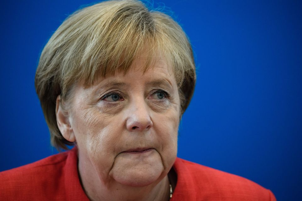 Angela Merkel, lors d'une réunion de son pèarti, ce 18 juin 2018 à Berlin. [ EPA/ - CLEMENS BILAN]