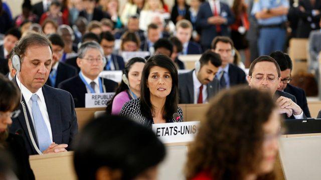 L'ambassadrice des USA à l'ONU Nikki Haley a annoncé leur retrait du Conseil des droits de l'homme. [Justin Lane - EPA/Keystone]