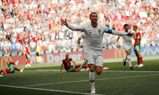 La joie de Cristiano Ronaldo après avoir ouvert le score. [Francisco Seco - Keystone]