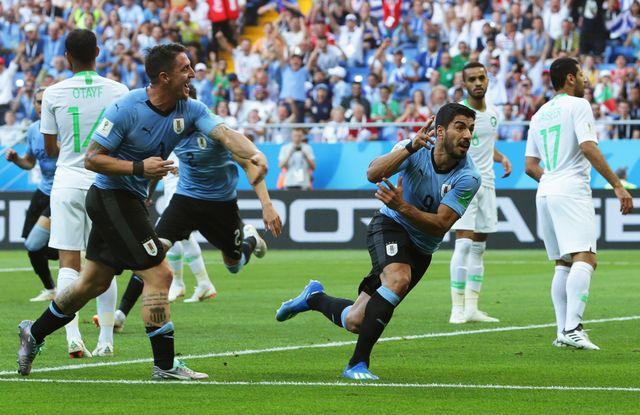 Luis Suarez a inscrit son 52e but à l'occasion de sa 100e sélection.  [Khaled Elfiqi - Keystone]