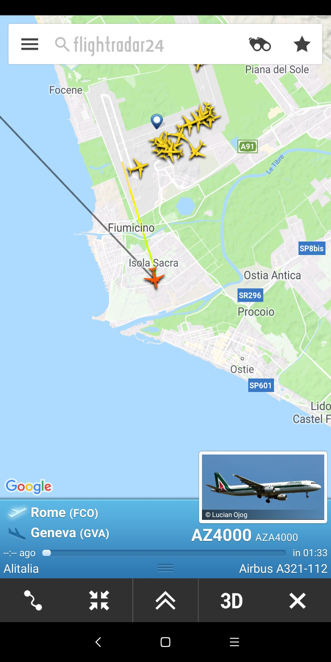 Capture d'écran issue de flightradar24.