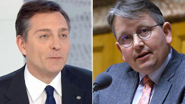 Alexandre Vautravers et Raymond Clottu. [RTS/Keystone]