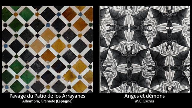 Les pavages du Patio de los Arrayanes du Palais de l'Alhambra de Grenade et d'un tableau de l'artiste néerlandais M. C. Escher. [© Michael Clarke Stuff  - DR]