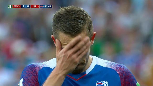 Gr.D, Nigeria - Islande (2-0): 83e, Sigurdsson manque un penalty accordée par la VAR [RTS]