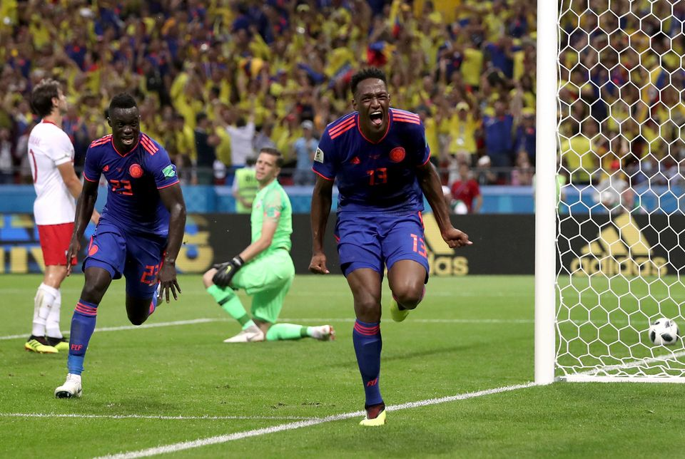 Yerry Mina a offert le premier but à la Colombie. [Thanassis Stavrakis - Keystone]