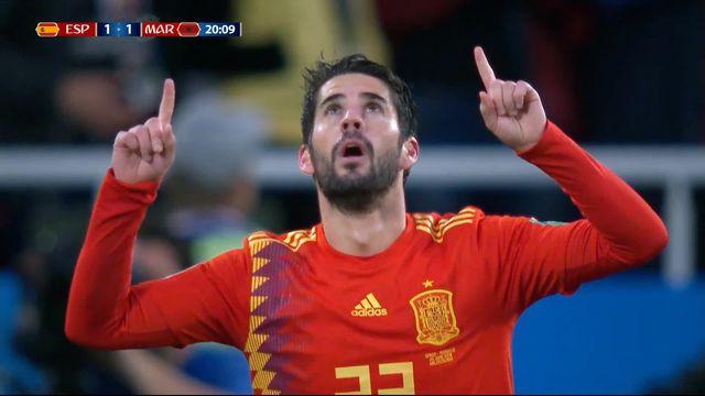 Gr.B, Espagne – Maroc (1-1): 19e, Isco égalise sur un service parfait d'Iniesta [RTS]