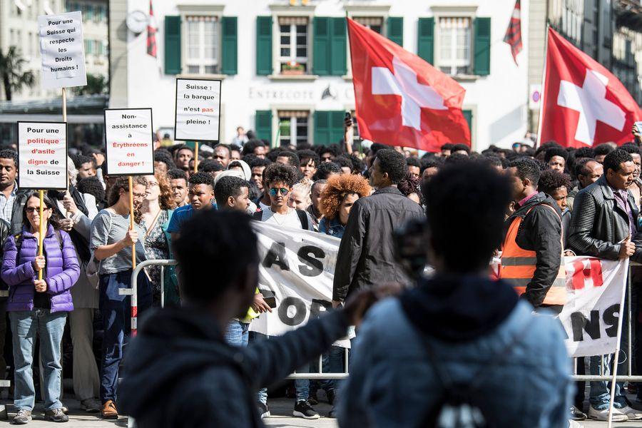 Environ 1500 Erythréens ont manifesté le 18.05.2018 à Berne contre le durcissement de la politique d'asile de la Confédération.