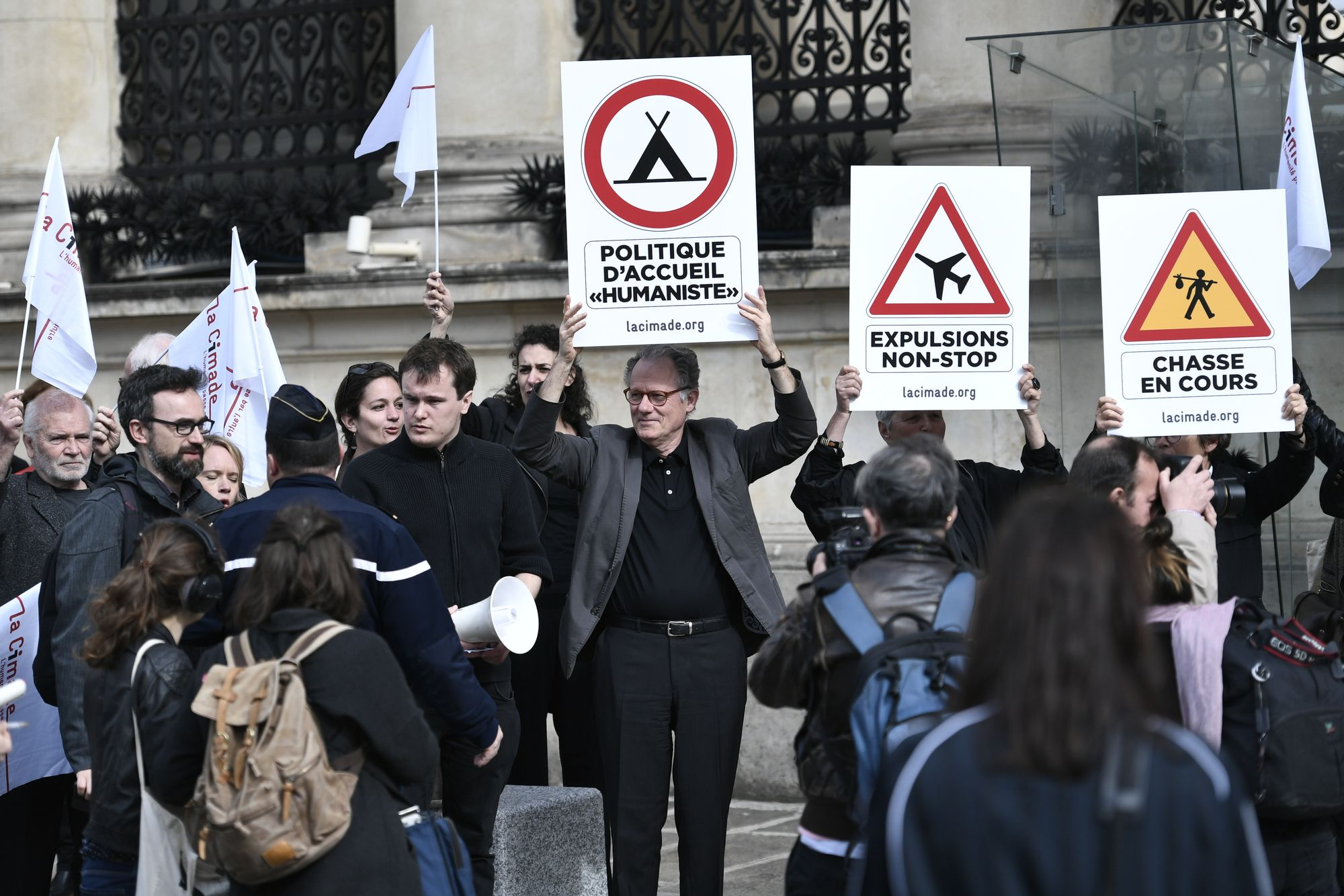 Une manifestation de l'association d'aide aux migrants Cimade, en avril 2018 à Paris.