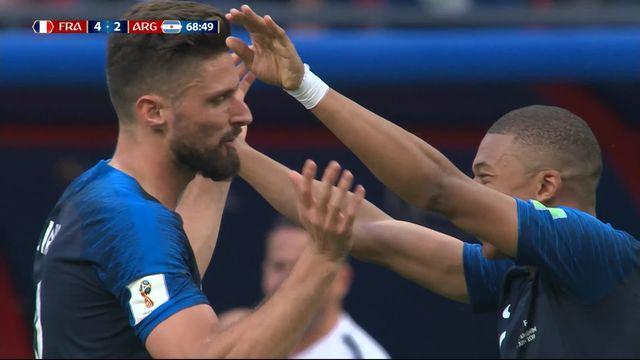 1-8, France – Argentine (4-2) : 68e, doublé pour Mbappé qui donne 2 longueurs d'avance à la France [RTS]