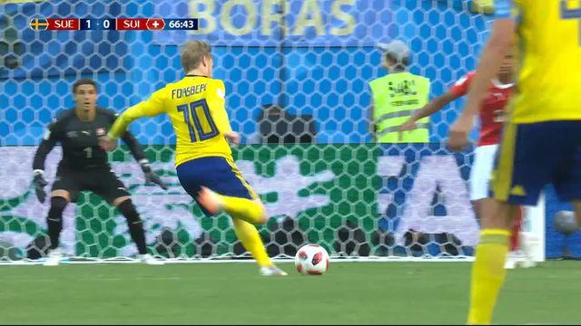 1-8, Suède – Suisse (1-0): 66e, Akanji dévie un tir de Forsberg et trompe Sommer [RTS]