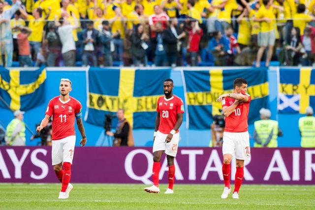 La Suisse s'incline 1-0 contre la Suède en 8es de finale de la Coupe du monde. [Keystone]