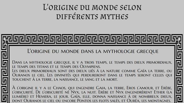 L'origine du monde selon différents mythes [RTS]