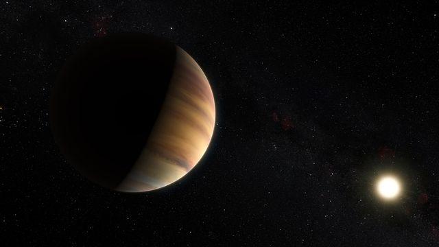 Vue d'artiste de l'exoplanète 51 Pegasi b, la première planète hors système solaire a avoir été découverte. M. Kornmesser/Nick Risinger/EUROPEAN SOUTHERN OBSERVATORY AFP [M. Kornmesser/Nick Risinger/EUROPEAN SOUTHERN OBSERVATORY - AFP]
