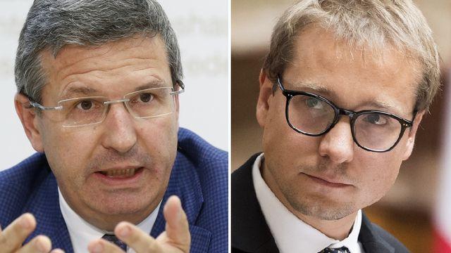 Christophe Reymond, directeur du Centre patronal vaudois (gauche) et Philippe Nantermod (PLR-VS). [Peter Klaunzer/Anthony Anex - Keystone]