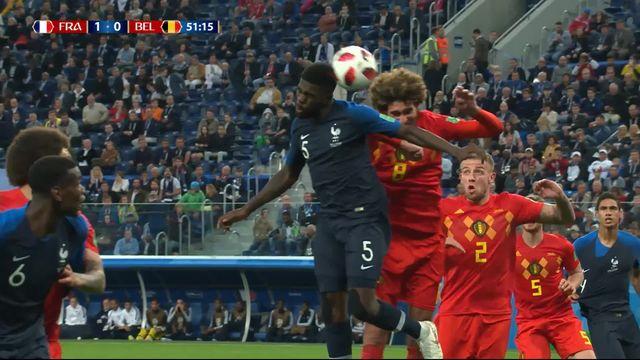 1-2, France - Belgique (1-0): 51e, Umtiti de la tête [RTS]