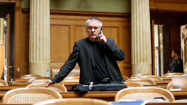 Le conseiller national Denis de la Reussille (POP/NE) lors de la session parlementaire du printemps 2017 à Berne. [Peter Klaunzer - Keystone]