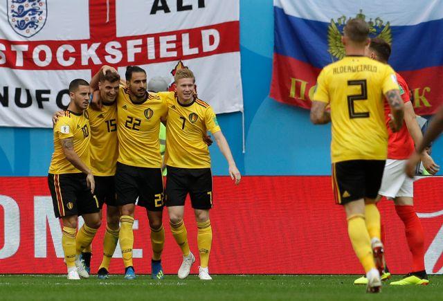 La joie des Belges après l'ouverture du score signée Thomas Meunier. [Petr David Josek - Keystone]