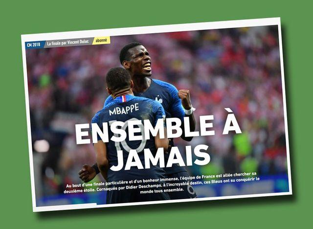 La Une du site de L'Equipe, au lendemain de la victoire des Bleus.