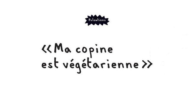 Ma copine est végétarienne, une page du magazine Pulsations. [Pulsations - Hôpitaux universitaires de Genève]