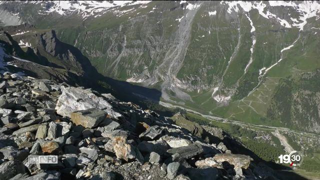 Changements climatiques: les chaleurs de ces derniers jours accélèrent la fonte du permafrost en haute montagne. [RTS]