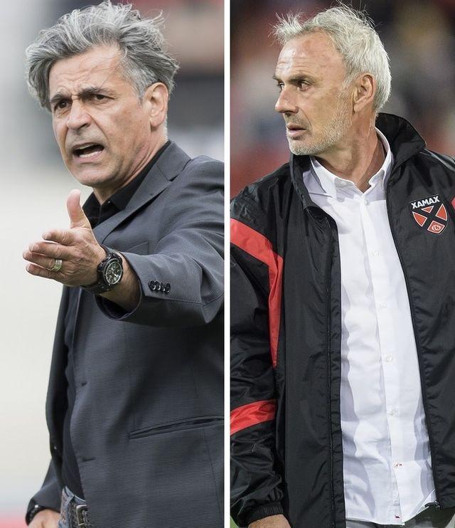 Les coaches de Sion et Xamax, Jacobacci et Decastel, peuvent réussir une belle saison. [A.Della Valle/M.Jacobacci - Keystone]