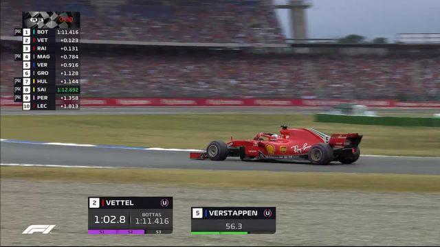 GP d'Allemagne (#11), Q3: la pôle pour Sebastian Vettel (GER) devant les Finlandais Bottas et Raikkonen [RTS]