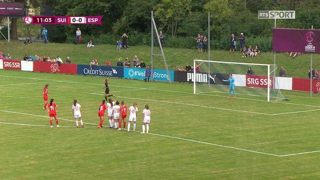 Gr.A, Suisse – Espagne (0-0): 12e, Gut ne parvient pas à ouvrir le score sur penalty [RTS]