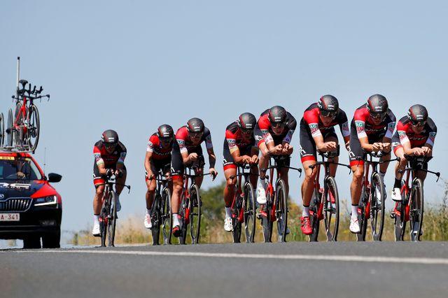 L'équipe BMC, avec un excellent Stefan Küng, a remporté la 3e étape du Tour de France cette année. [Christophe Ena - Keystone]