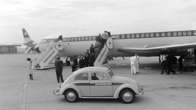 Vol Swissair en partance de l'aéroport de Genève. [RTS]