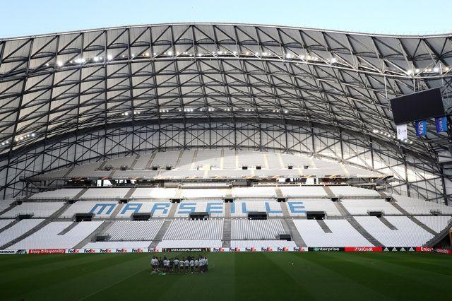 Le stade vide du Vélodrome à Marseille. [Sébastien Nogier - Keystone]