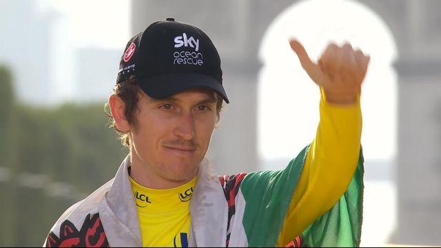 21e étape: la joie de Geraint Thomas (GBR) sur le podium [RTS]