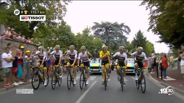 Arrivée du Tour de France sur les Champs-Elysées. Sacre pour le Gallois Geraint Thomas de l'équipe Sky. [RTS]