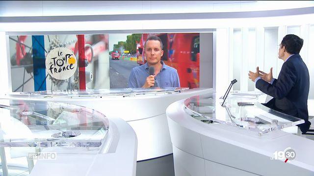 Portrait de Geraint Thomas, vainqueur du Tour de France, par Romain Roseng, envoyé spécial sur les Champs-Elysées. [RTS]