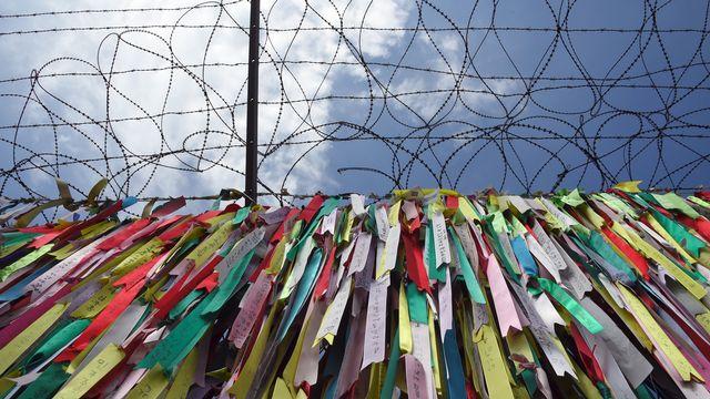 Barbelés à la frontière entre les deux Corées. [Jung Yeon-Je - AFP]