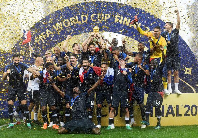 L'équipe de France après son triomphe mondial en Russie. [Facundo Arrizabalaga - Keystone]