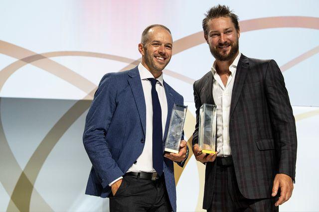 Andrew Ebbett (à gauche) et Kevin Klein ont été élus meilleurs joueurs de la saison. [Urs Lindt - Freshfocus]