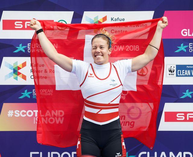 Jeannine Gmelin a remporté la médaille d'or ce dimanche 5 août aux Championnats européens. [Robert Perry - EPA - Keystone]