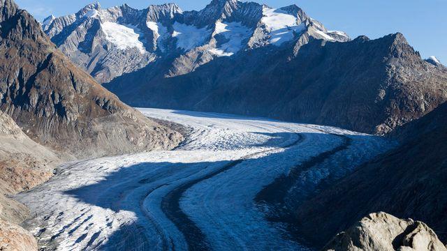 Vue du glacier d'Aletsch en octobre 2017. [Dominic Steinmann - Keystone]