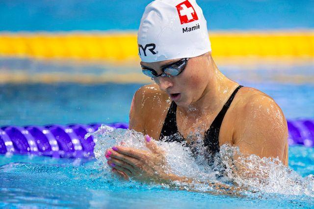 La nageuse suisse Lisa Mamié aux Championnats sportifs européens à Glasgow, le 6 août 2018. [Patrick B. Kraemer - EPA/Keystone]