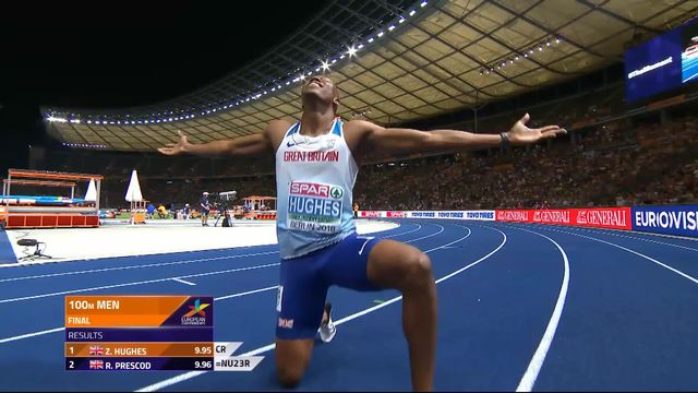 Athlétisme, 100m messieurs: Hughes (GBR) sacré devant Prescod (GBR) et Harvey (TUR) [RTS]