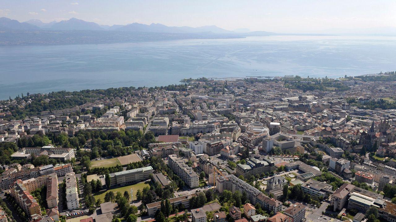 Vue aérienne de la ville de Lausanne. [Laurent Gillieron - Keystone]