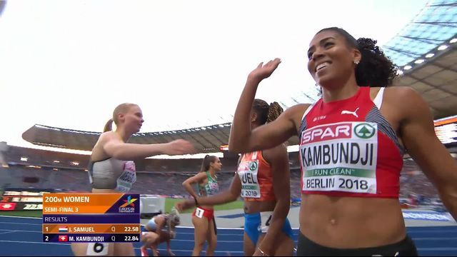 200m dames, 3e demi-finale: Mujinga Kambundji (SUI) se qualifie pour la finale grâce à sa 2e place en 22.84 [RTS]