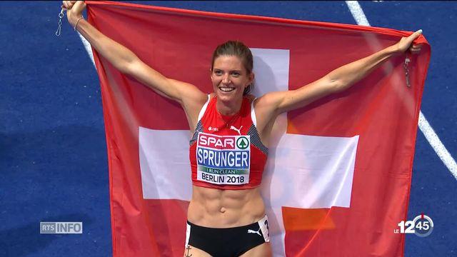 athlétisme : la nyonnaise lea sprunger vainc le signe indien et remporte sa première médaille d'or sur 400 mètres haies [RTS]