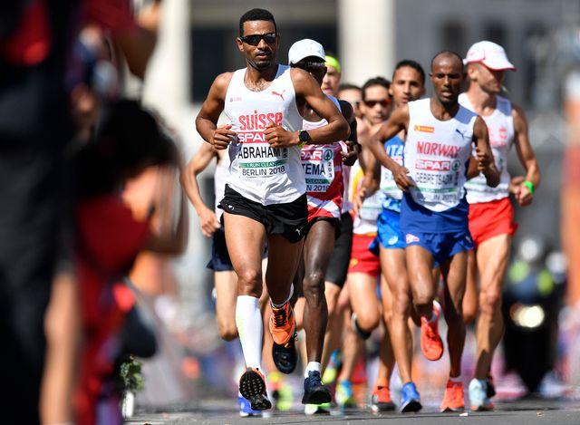 Le Suisse Tadessé Abraham au marathon des championnats européens de Berlin. [Martin Meissner - Keystone]