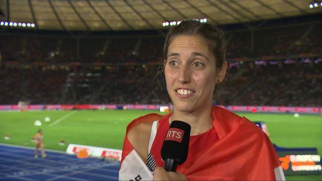Athlétisme, 3000m steeple dames: la Suissesse, Schlump, à l'interview après sa course [RTS]