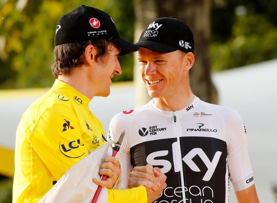 Geraint Thomas et Chris Froome se retrouveront sur les routes du Tour de Grande-Bretagne. [Laurent Rebours - Keystone]