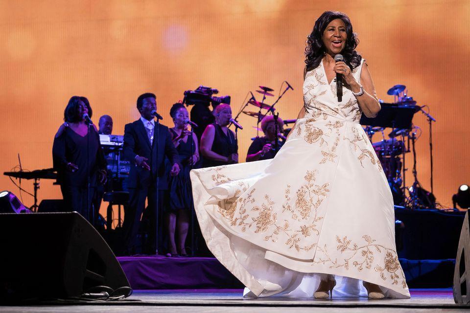 Aretha Franklin lors d'un concert en avril 2017. [Charles Sykes/Invision/AP - Keystone]