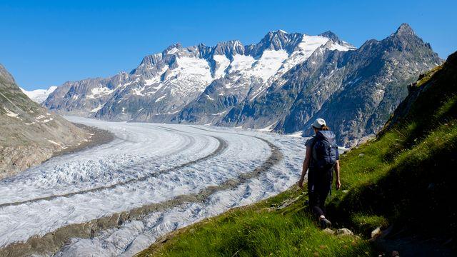 Vue sur le glacier d'Aletsch, en Valais, ce 8 juillet 2018. [Anthony Anex - Keystone]